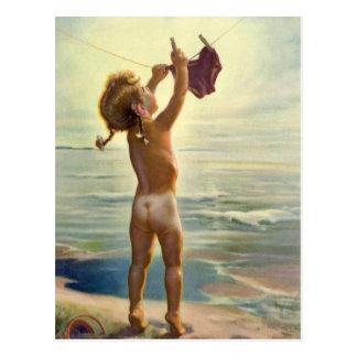 De vintage Leuke Hangende Wasserij van het Kind Briefkaart