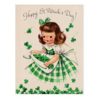 De vintage Leuke St Patrick van de Klaver van het Briefkaart