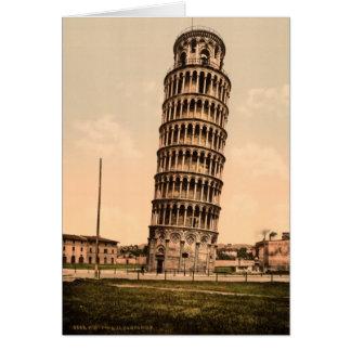 De vintage Leunende Toren van Pisa dankt u Kaart