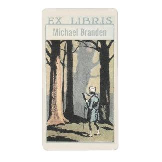 De vintage Lezing van het Man in Bos Ex Libris Etiket