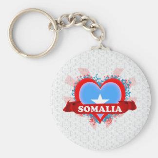 De vintage Liefde Somalië van I Basic Ronde Button Sleutelhanger