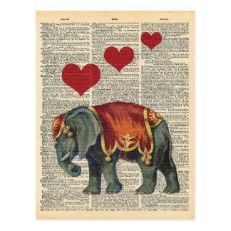 De vintage Liefde van de Olifant van het Circus Briefkaart