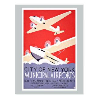 De vintage Luchthavens van de Stad New-York van de Briefkaart
