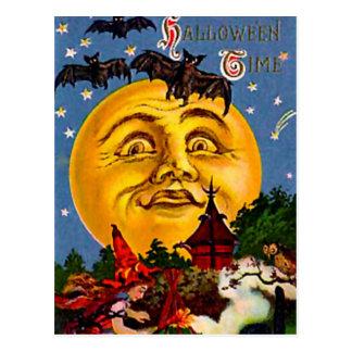 De vintage Maan en de Heksen van Halloween Briefkaart