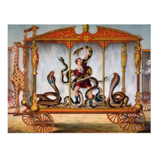 De vintage Manager van de Slang van het Circus Briefkaart