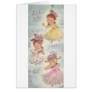 De vintage Meisjes van de Roddel van de Verjaardag Briefkaarten 0