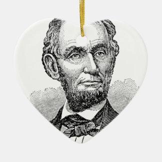 De vintage Mislukking van Abe Lincoln Keramisch Hart Ornament