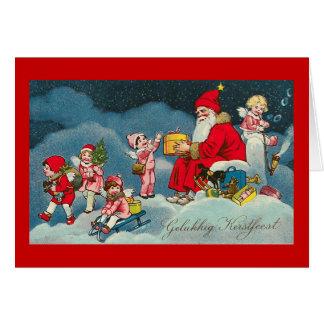 """De Vintage Nederlandse Kerstkaart van """"Gelukkig Briefkaarten 0"""