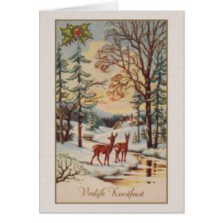 De vintage Nederlandse Kerstkaart van Vroolijk Briefkaarten 0