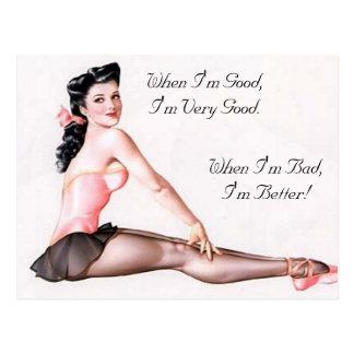 De vintage Ongehoorzame Speld van de Ballerina op Briefkaart
