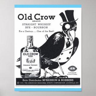 De vintage Oude Rechte Whisky van de Kraai, Rogge, Poster