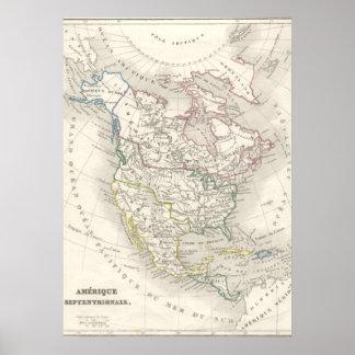 De vintage oude wereldkaart brengt Amerika in Poster