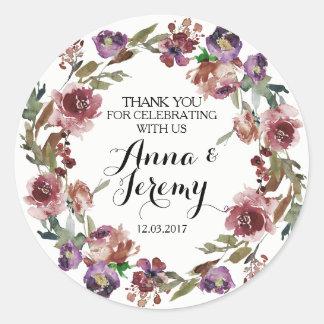 De vintage Paarse BloemenSticker van het Huwelijk Ronde Sticker