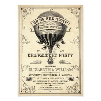 De vintage Partij van het Verloving van de Ballon 12,7x17,8 Uitnodiging Kaart