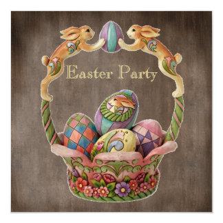 De vintage Partij van Pasen van Paashazen & van 13,3x13,3 Vierkante Uitnodiging Kaart
