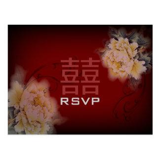 de vintage pioen bloemen Chinees Huwelijk RSVP van Briefkaart