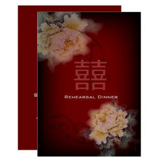 de vintage pioen bloemen Chinees Huwelijk van Kaart