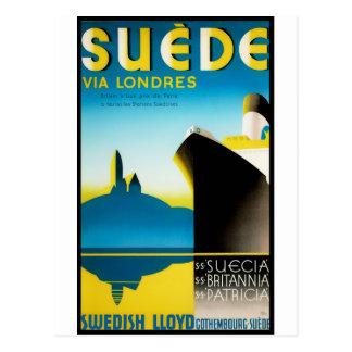 De vintage Posters van de Reis: Suède via Londres Briefkaart