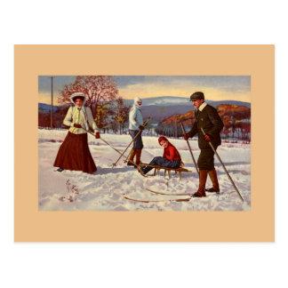 De vintage pret Noordse ski van de de jaren Briefkaart