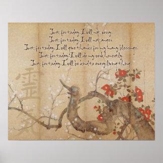 De vintage Principes van Reiki van de Waterverf va Poster