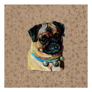 De vintage Pug Druk van de Hond Poster