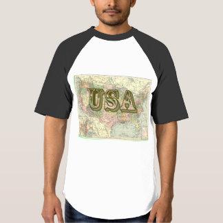 De vintage Raglan van het Mannen van de Kaart van T Shirts