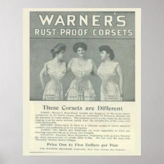 De vintage Reclame van het Korset, het Bewijs van Poster