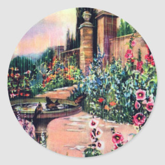 De vintage Regen van de Tuin Ronde Sticker