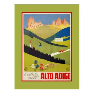 De vintage reis Italiaanse van Alpen (Zuid-Tirol) Briefkaart