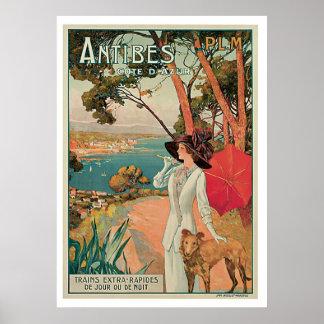 De Vintage Reis van Antibes Frankrijk Poster