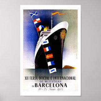 De Vintage Reis van Barcelona Poster