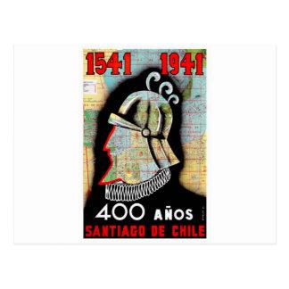 De vintage Reis van Chili Santiago Briefkaart