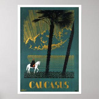 De vintage Reis van de Bergen van de Kaukasus Poster