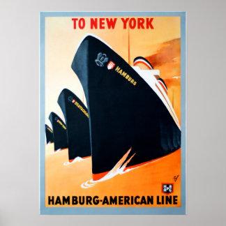 De vintage Reis van de Cruise van New York Hamburg Poster