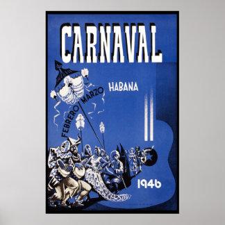 De Vintage Reis van Havana Carnaval 1946 Poster