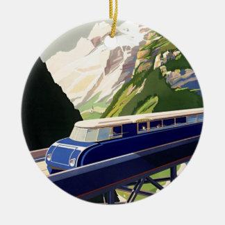 De vintage Reis van het Spoor van Europa Rond Keramisch Ornament