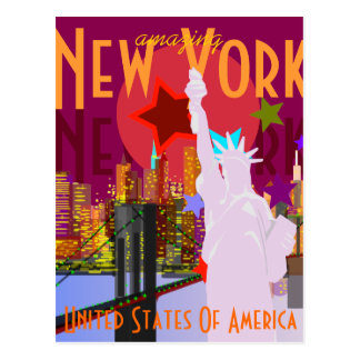 De vintage Reis van New York Briefkaart