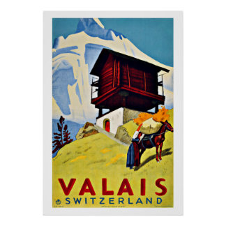De Vintage Reis van Valais, Zwitserland Poster