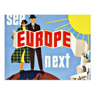 De vintage Reis ziet Europa Briefkaart