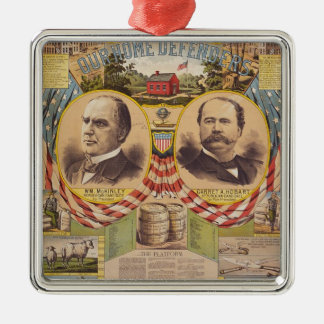 De vintage Republikeinse Presidentiële Campagne Zilverkleurig Vierkant Ornament