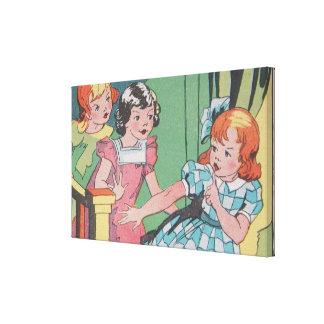 De vintage Retro Kunst van de Cartoon van Meisjes Canvas Print