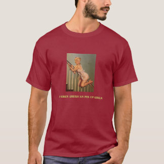 De vintage Retro Speld van Gil Elvgren op Meisje T Shirt