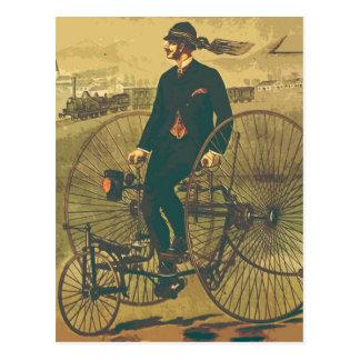 De vintage Reuze Grappige Snor Met drie wielen van Briefkaart