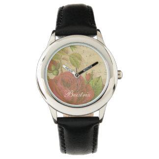 De vintage Rode Naam van de Douane van het Blad Horloges