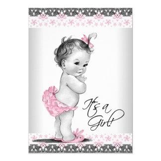 De vintage Roze en Grijze Douche van het Meisje 12,7x17,8 Uitnodiging Kaart