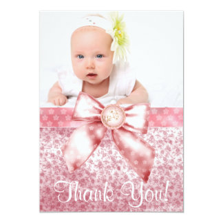 De vintage Roze Foto van het Meisje van het Baby Kaart