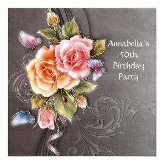 De vintage Roze Verjaardag van de Kunst vijftigste 13,3x13,3 Vierkante Uitnodiging Kaart