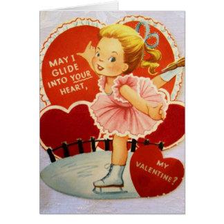 De vintage Schaatser Valentijn van het Ijs Wenskaart