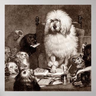 De vintage Sjabloon van de Honden van de Poedel w Poster
