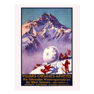 De vintage Ski van de Reis van Zwitserland Briefkaart